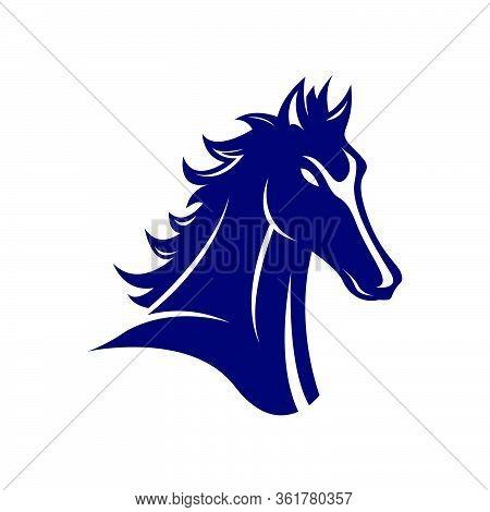 Black Stallion Horse Head Logo Vector Symbol The Silhoutte Of Black Horse Illustration Design