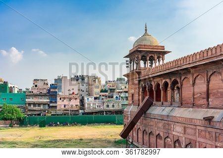 Delhi, India - April 19, 2019: Architectural Detail Of Jama Masjid Mosque, Old Delhi, India.