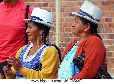 Cuenca, Ecuador - October 14, 2018: Two Native Ecuadorian Proud Women From Countryside Wearing Authe