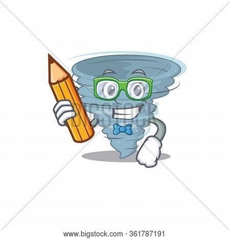 A Brainy Student Tornado Cartoon Character With Pencil And Glasses