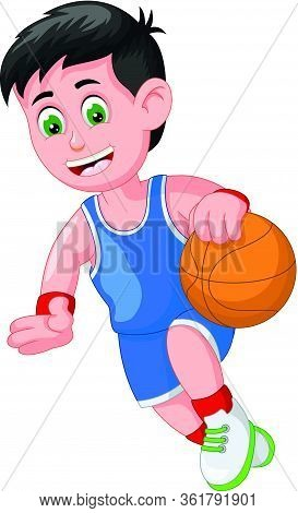 Handsome Athlete Basketball Player Boy Dribbling Ball Cartoon Vector Illustration