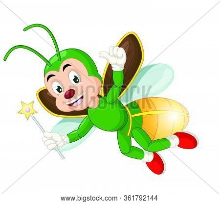 Flying Green Firefly Hold Star Stick Cartoon