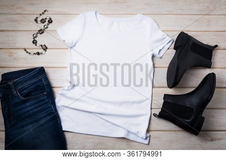 Women's T-shirt Mockup With Chelsea Boots