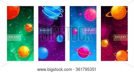Stories Template. Set Of Space Background With Cartoon Fantasy Planets. Mobile Backdrop. Fantasy Pla