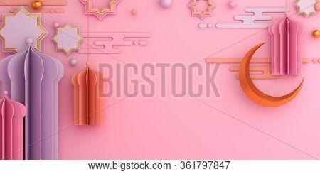 Islamic Background, Ramadan Background, Lantern, Crescent, Mosque On Pink Background. Ramadan Kareem