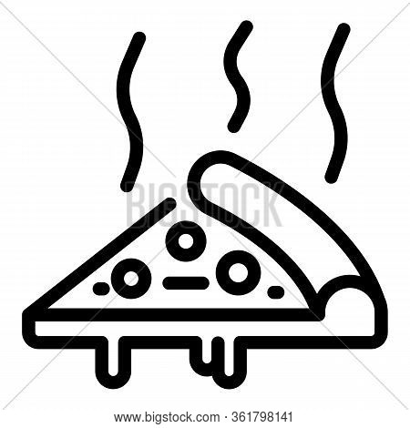 Hot Slice Pizza Icon. Outline Hot Slice Pizza Vector Icon For Web Design Isolated On White Backgroun