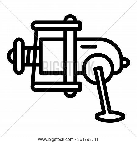 Spinning Reel Icon. Outline Spinning Reel Vector Icon For Web Design Isolated On White Background