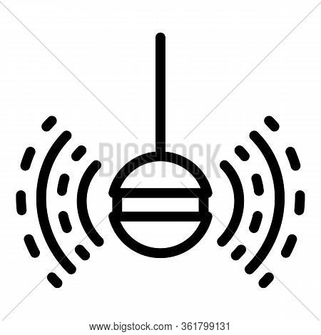 Fish Finder Sonar Icon. Outline Fish Finder Sonar Vector Icon For Web Design Isolated On White Backg