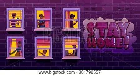 Stay Home Concept, People In Windows During Coronavirus Pandemic Isolation. Neighbors In Their Apart