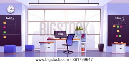 Office Workplace Interior With Computer Table, Pc Monitor, Shelves, Task Boards Front Of Wide Floor-