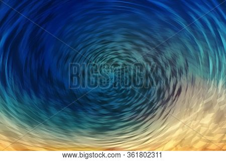 Portal Effect. Wormhole Of Blue And Golden Colors. Circular Spiral Tunnel Absorbs Matter. Fantastic
