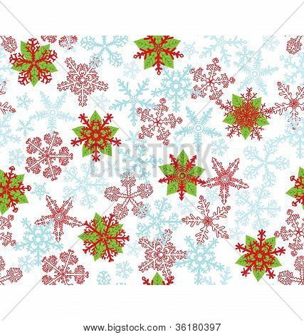Poinsettias Snow Flakes