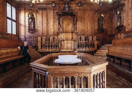 Bologna, Italy - September 30, 2019: Dissection Table In So Called Anatomical Theatre Located In Arc