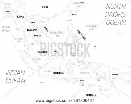 Southeast Asia Map. High Detailed Political Map Of Southeastern Region With Country, Capital, Ocean