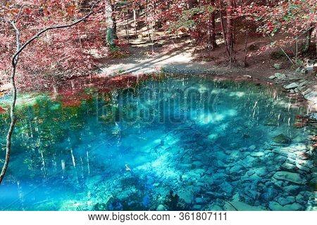 View Of Ochiul Bei Lake In Anina Mountains, Romania