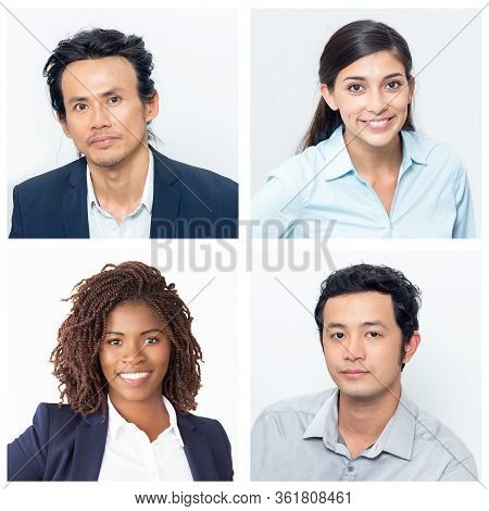 Set Of Portraits Of Co-workers Of Different Nationality. Asian Male Business Men Alongside Female Eu