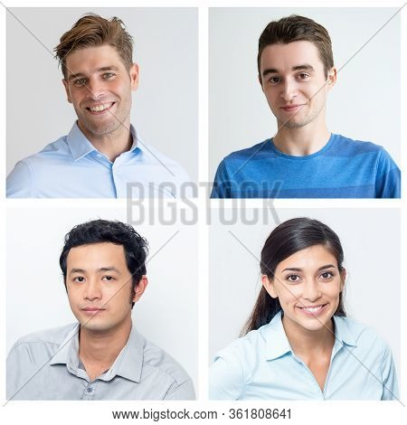 Smiling Pretty Young Colleagues Wearing Casual Shirts Portraits. Female Co-worker Surrounded By Help