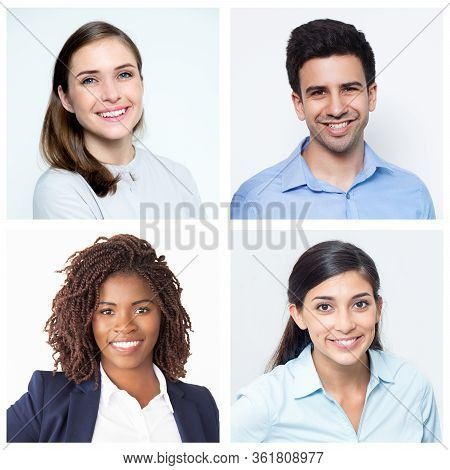 Young Female Colleagues With Their Male Co-worker Portraits. Gender Equality In Workplace. Women In
