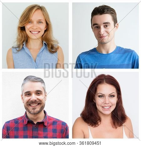 Young Smiling Cute Caucasian People Chest-up Collective Portrait. White Attractive Young People Wear