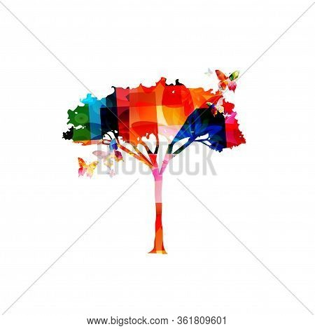 Colorful Acacia Tree Isolated Vector Illustration Design