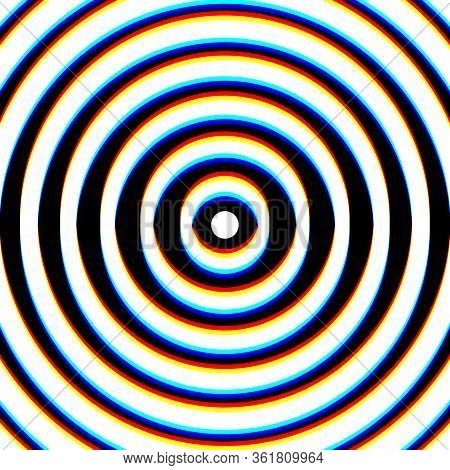 Glitch Psychedelic Radial Shapes On White Background. Design For Website, Presentation, Wallpaper, B
