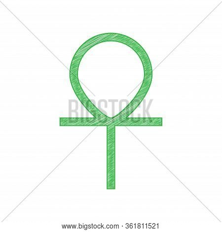 Ankh Symbol, Egyptian Word For Life, Symbol Of Immortality. Green Scribble Icon With Solid Contour O