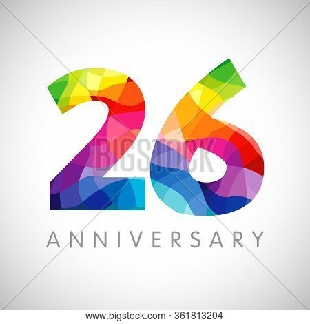 26 Th Anniversary Numbers. 26 Years Old Logotype. Bright Congrats. Isolated Abstract Graphic Web Des