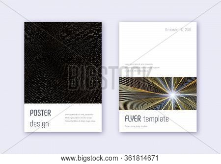 Minimalistic Cover Design Template Set. Gold Abstract Lines On Black Background. Ecstatic Cover Desi