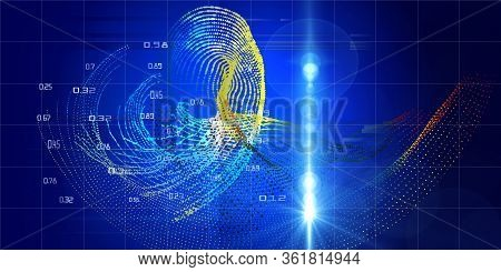 Abstract Futuristic Background Of Data Color Dots Flow And Blurred Lines. Quantum Virtual Cryptograp