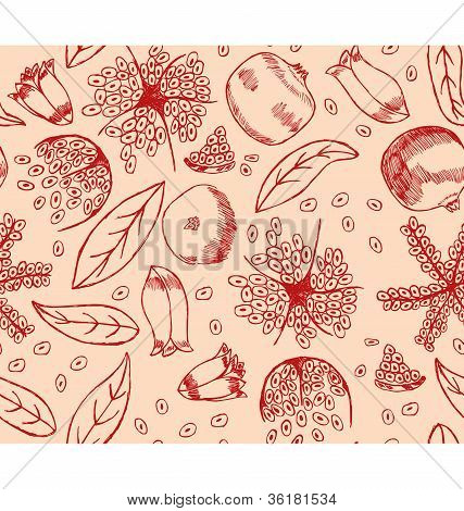 Red Pomegranate Pattern