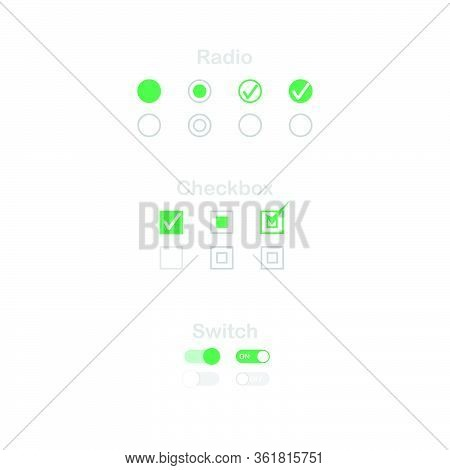 Check Mark Icon Set. Radio, Checkbox And Switch Check Mark Used For Choice Between One Of Two Possib