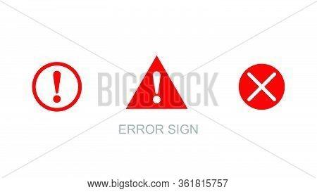 Exclamation Mark. Exclamation Mark. Hazard Warning Symbol. Flat Design Style. Error, Warning Or Caut
