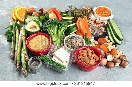Diet Of Plant Based Protein. Healthy  Foods High In Plant Protein, Antioxidants, Vitamins And Dietar