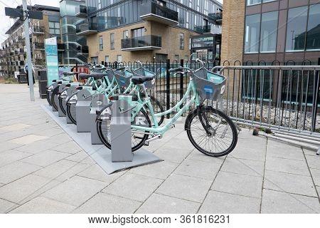 Brighton, Sussex, United Kingdom - March 7, 2020: Electric E-bikes For Hire Outside Brighton Railway