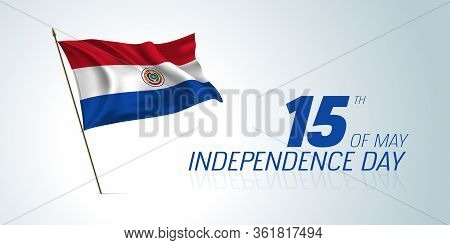Paraguay Independence Day Greeting Card, Banner, Horizontal Vector Illustration
