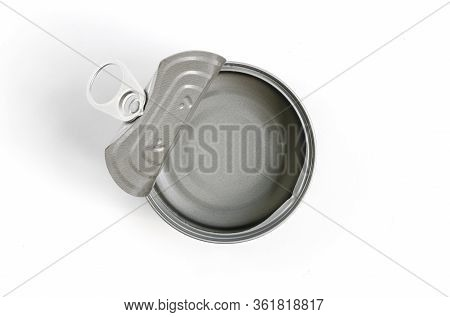 Empty Canned Good On White Background.