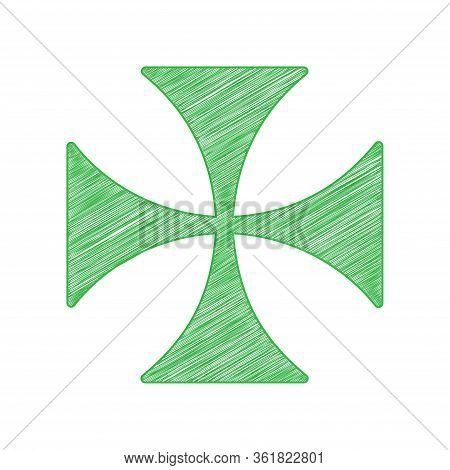 Maltese Cross Sign. Green Scribble Icon With Solid Contour On White Background. Illustration.