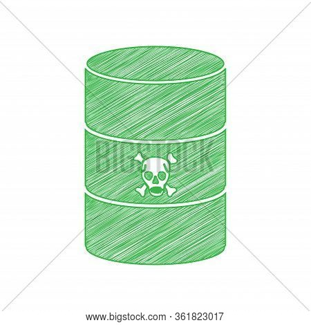 Radiation Round Sign. Green Scribble Icon With Solid Contour On White Background. Illustration.