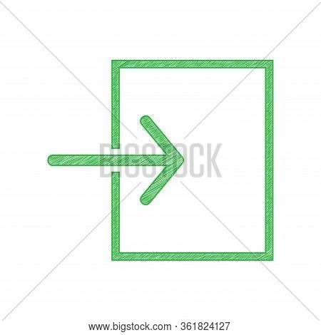 Input Sign. Green Scribble Icon With Solid Contour On White Background. Illustration.