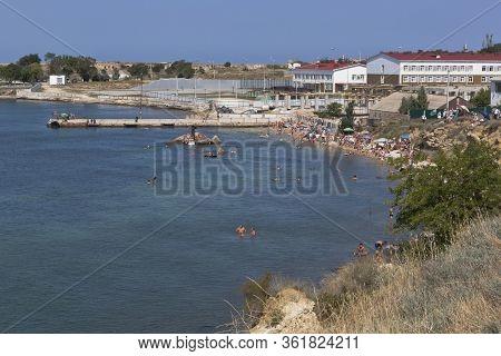 Sevastopol, Crimea, Russia - July 28, 2019: Konstantinovsky Beach On The North Side In The City Of S