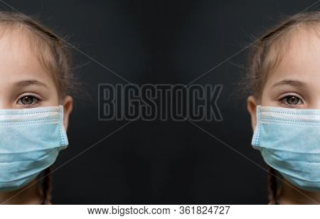 Half Face Girl With Red Eyes And A Medical Mask On A Black Background, Copy Space. Concept Of People