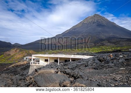Pico Do Fogo And Village Destroyed By Volcanic Eruption In Cha Das Caldeiras, Cape Verde