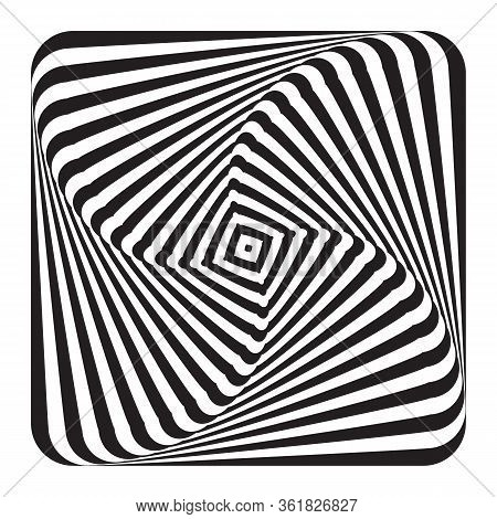 Abstract Op Art Design Element. Illusion Of Swirl Movement. Lines Texture. Vector Illustration.