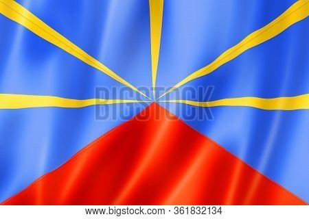Reunion Flag, Overseas Territories Of France. 3d Illustration