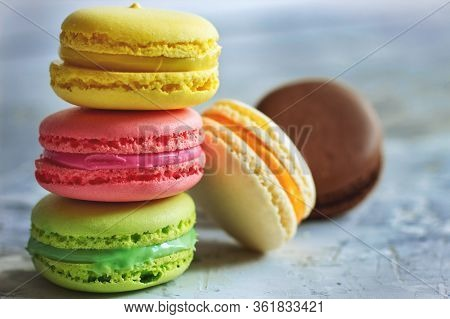 Colorful Macaroons On A Light Background Dessert