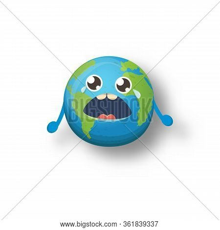 Cartoon Cute Crying Baby Earth Planet Character Isolated On White Background. Eath Dayor Save Eath C