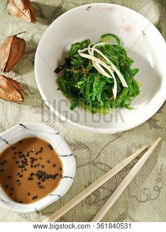 Japanese Cuisine , Seaweed Chuka Salad With Soy Sauce In White Bowl