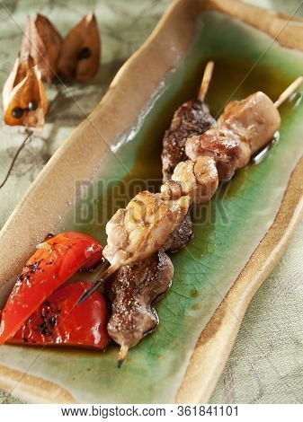 Japanese Skewered Chicken (yakitori) With Vegetables
