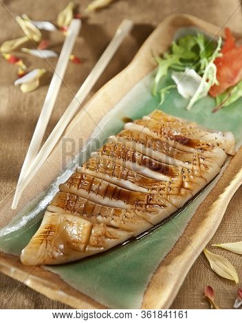 Japanese Skewered Chicken (yakitori) With Vegetables. Close Up Photo
