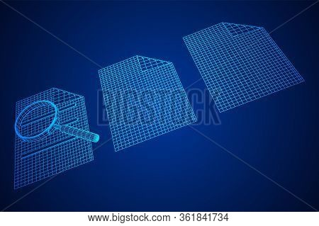 Document File With Magnifying Glass. Business Search Concept. Wireframe Low Poly Mesh Vector Illustr